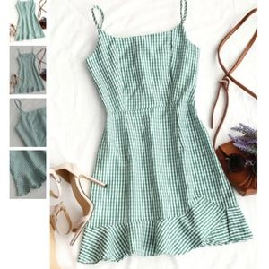 Zaful Green Gingham dress